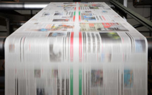 shot of our magazine printing press in action
